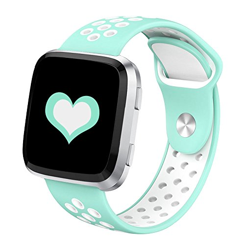 DEKER for Fitbit Versa Bands for Women Men Small Large Wrist, Breathable Soft Fitness Sport Silicone Strap Replacement Accessories Wristbands for Fitbit Versa Smart Watch (Teal/White, Small)