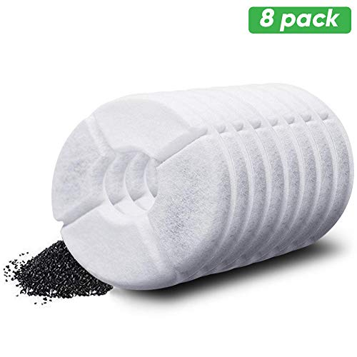 YOUTHINK Pet Water Fountain Replacement Filter, 8 Pack Premium Cotton Activated Carbon Replacement Water Fountain Filter for 1.6L and 2.4L Pet Fountain, Pet Water Fountain Filter, Keep Water Fresh