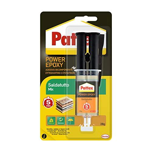 Pattex Power Epoxy Saldatutto Mix 5 Minuti, Forte Colla Epossidica, Bicomponente a Elevata Tenuta Finale, Multiuso, Adatta per quasi ogni Materiale, Trasparente, 1 x 28 g