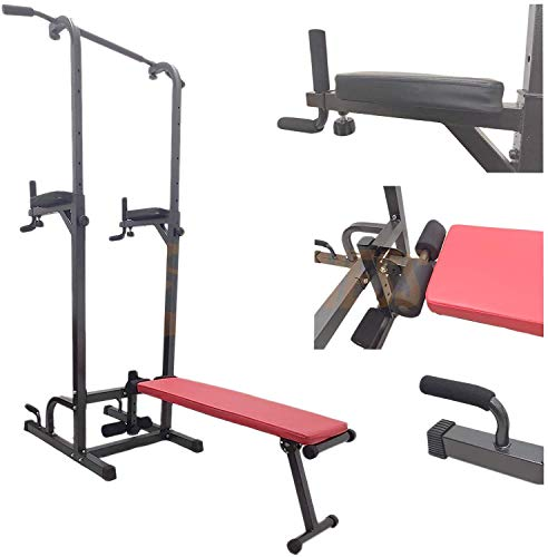 FLMD2163 Power Tower Dip Bar con Panca Barra trazioni Stazione di Allenamento Chin up Sit up Coppia parallele Attrezzatura Multifunzionale Multifunzione Home Gym Fitness in casa