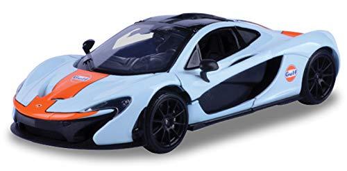 Motormax McLaren P1 Gulf Livery Light Blue Orange Stripe 1/24 Diecast Model Car
