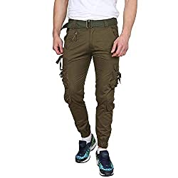 Krystle Mens Cotton Solid Olive Green Relaxed Fit Zipper Dori Cargo Jogger Pants