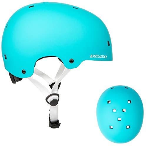 Exclusky Erwachsene Fahrradhelm, Jugend Skateboardhelm, Multi-Sport Helme für Roller Radfahren Roller Skate, 2 verstellbare Größen für Urban Commuter Herren Damen, CPSC Zertifiziert (Blau, L/XL)