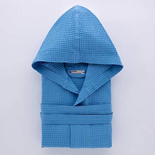 Linea Oro Albornoz unisex para hombre/mujer, modelo de nido de abeja, capucha y cintura elástica, 100% algodón, color azul, súper absorbente, antihumedad, talla M