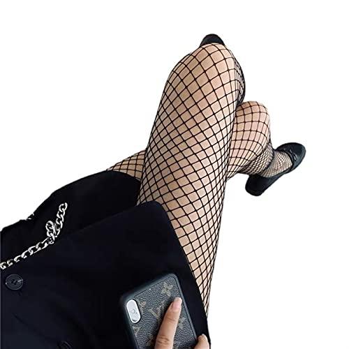 Mfacl Calcetines de Altura de la Rodilla para Mujer Calcetines de Lolita Medias Femeninas de cuadrícula Negra EN S Marea Larga Tubo Pantimedias Salvajes Calcetines Salvajes Damas