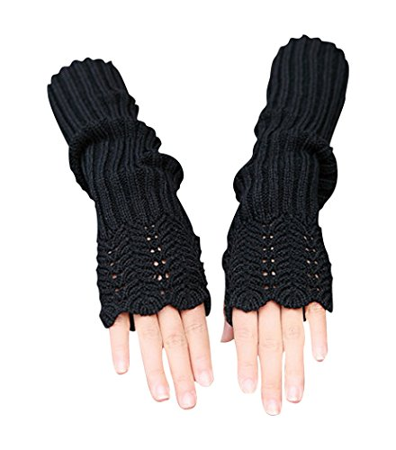 Novawo Women's Scale Design Winter Warm Knitted Long Arm Warmers Gloves Mittens (Black)