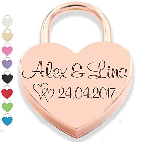 Liebesschmiede Liebesschloss Herzschloss mit personalisiert GRAVUR mit Schlüssel roségold rose Geschenk Jahrestag Valentinstag