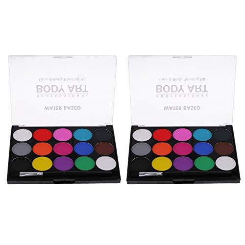 kowaku 2 Juegos de 15 Colores, Maquillaje No Txico, Paleta de Pintura Corporal para El Rostro, Disfraz Elegante