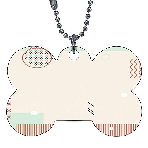 VinMea Funny Dog Cat Pet ID Tags Pastel Memphis Instagram Pattern Add Your Contact Customize Information and Colors on Back of tag