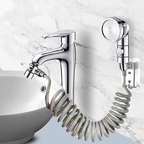 Conjunto de alcachofa de ducha para lavabo, manguera telescópica de 1,5 m, perfecto para lavar el cabello o limpiar el lavabo (grifo no incluido)