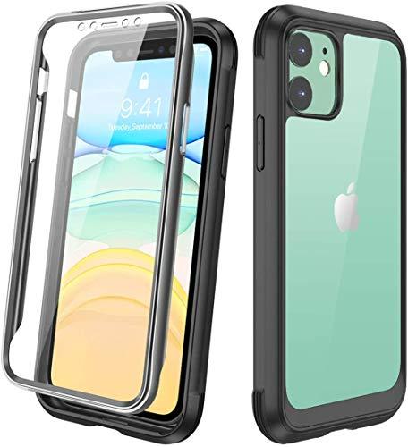 Diaclara iPhone 11 Hülle 360 Grad Bumper Case Handyhülle Transparent Schutzhülle Cover mit eingebautem Displayschutz Komplettschutz Handyhülle für iPhone 11 6.1 Zoll (Schwarz)