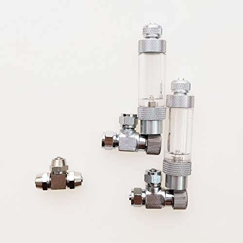 BASE WAVE 2 pcs of Needle valves with Bubble Counter Check valves + Metal tee for CO2 DIY…