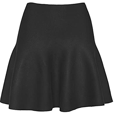KMystic Womens Basic Winter Knit Stretchy Flared Skater Skirt