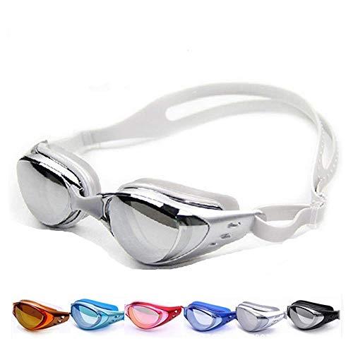 Keepmoving Anti-Fog-Beschichtung Sport Optische Schwimmbrillen Kurzsichtig mit Sehstärke -1,5 bis -8,0 dpt UV-Schutz Damen Herren Mädchen Junge Schwimmer (Grau, -5,0)