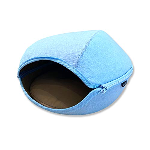 VistosoHome Felt Cat Cave Bed with Detachable & Collapsible Zipper...