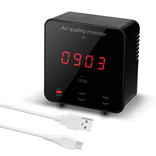 Medidor Co2 KKmoon Medidor co2 Detector De calidad del aire multifuncional Detector de formaldehído HCHO/ CO2 TVOC Mini equipo de control de calidad del aire portátil Probador de calidad del aire