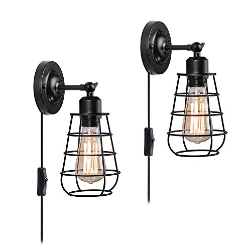 Create for Life 2 Pack Plug-in or Hard-Wire Industrial Wire Cage Wall Sconce,Vintage Style Wall Light for Headboard Bedroom Nightstand Porch Bathroom Vanity(ON/Off Switch,6' Cord,Matte Black)