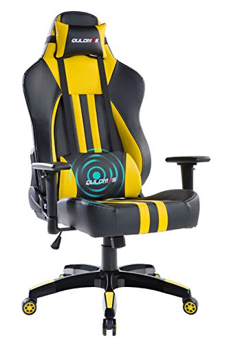 Qulomvs Heavy Duty Gaming Chair for Adults Massage Ergonomic Computer Gamer Chair High Back 360 Swivel Video Game Chair for PC Racing Headrest and Lumbar Support (Yellow) chairs Dining Features Game Kitchen Video
