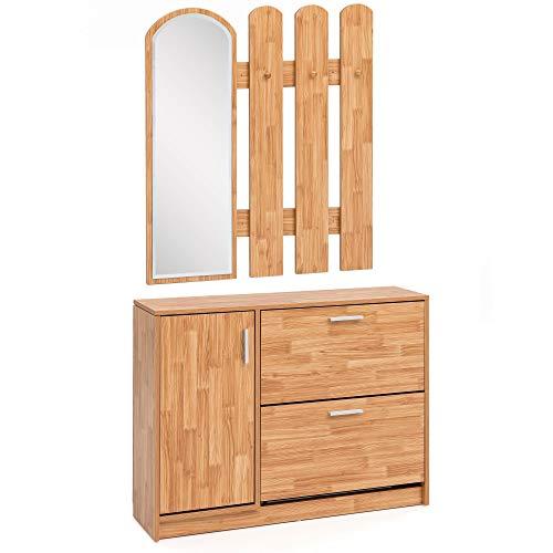 Garderobe Buche 90 x 172 x 24 cm Holz Design Schuhkipper mit Garderobe Wandspiegel Dielenmöbel Schuhschrank mit Garderobenspiegel Modern Wandgarderobe mit Spiegel Braun