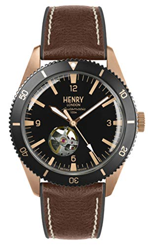 Henry London Herren Skeleton Automatik Uhr mit Silikon Armband HL42-AS-0330