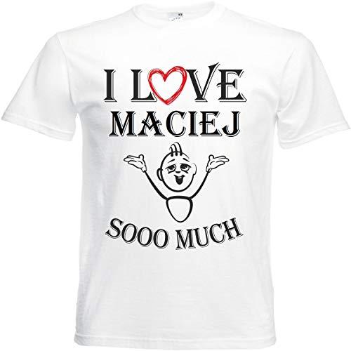 Camiseta I Love Maciej para mujer, hombre y niños en color blanco. Blanco XXL