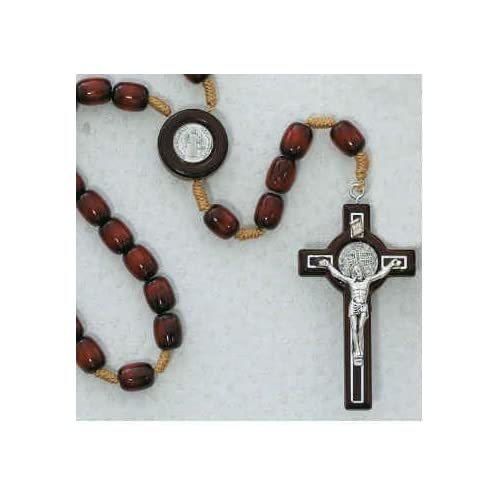 Beautiful Quality Brown Rosary St Benedict Wooden Rosary St Benedict Cross