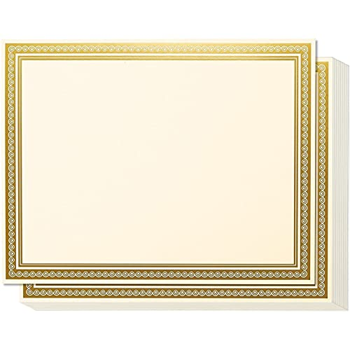 Gold Foiled Metallic Border Award Certificate Sheets, Printer Compatible (11 x 8.5 in, 50 Pack)