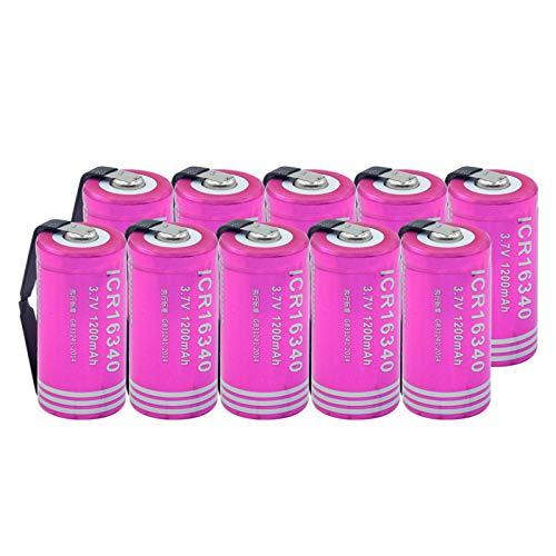 RitzyRose 16340 - Batería de iones de litio de 3,7 V, 1200 mAh, batería de repuesto recargable para Power Bank con linterna LED 10 unidades