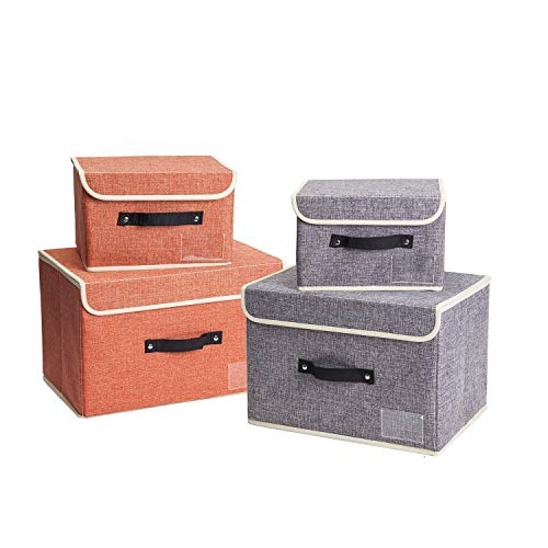 Large Storage boxes with lids Set 4 Pack Foldable Kids Toy Storage Basket  Janes Home Collapsible Washable Cube Large Small Storage Bins with Lids for OrnamentCloset Organizers and Storage Orange Grey
