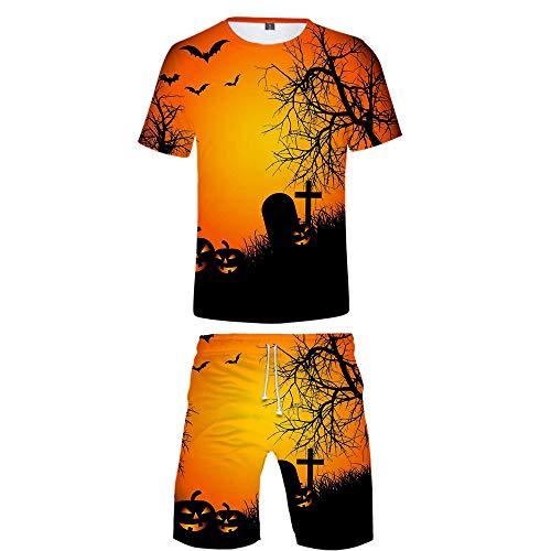 INSTO T-Shirt Kurze Hose 2 Stücke Einstellen Kreativ Halloween Gedruckt Fitness Tragen Zum Jungs Und Herren Tragen Gemütlich / A5 / XS