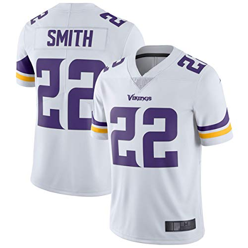 Fting Camiseta de fútbol americano de los hombres Minnesota # 22 Blanco, Smith Vikings Vapor Untouchable Limited Player Jersey camisas para hombres