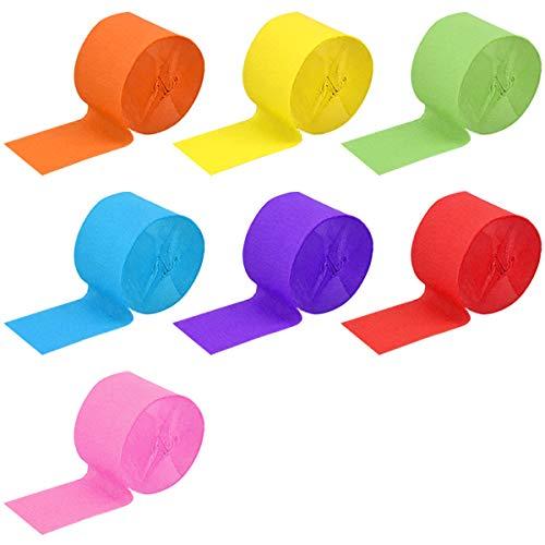 NATUCE Krepppapier, 7 Rollen 4,5 cm x 25 m Bunte Party Streamer, Regenbogen Krepppapier Streamer, Bunte Luftschlangen, Bunte Bände Papier für Deko Party, Feier, Weihnachten Dekoration