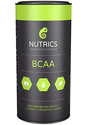 Nutrics BCAA | 100% Vegan | Hochdosiert | 120 Kapseln | Verhältnis 2:1:1 | Hergestellt in Deutschland | Aminosäuren Sportlerpackung