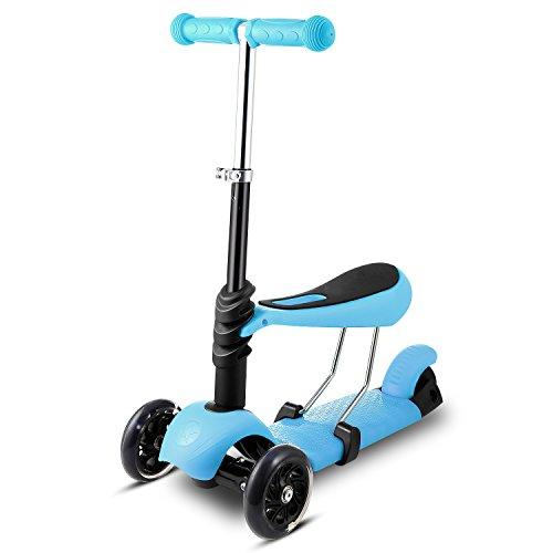 Profun Patinete 3 Ruedas para Niños de 1 a 8 años (Menos de 1.2M) Patinete 3-en-1 con Led Luces con Asiento Extraíble y Manillar Ajustable (49-62-71cm) (Azul)