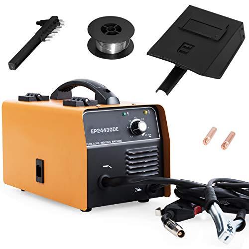 COSTWAY MIG 130 Schweißgerät mit Synergie-Funktion, Fülldrahtschweißmaschine mit Schutzmaske, IGBT-Inverter-Schweißausrüstung mit Tragegriff