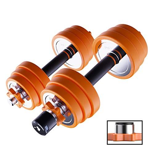 Mancuernas Fitness y Ejercicio Acero Inoxidable Dumbbells par Fitness Ejercicio Equipo casero del músculo extraíble Ajustable sin dañar el Suelo Musculación (Color : Orange, Size : 20kg)