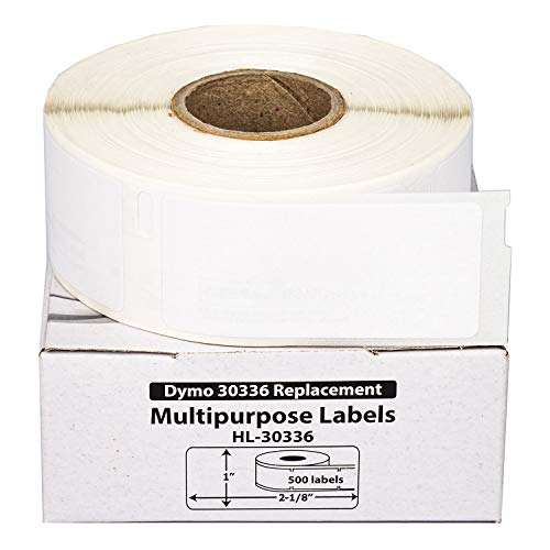 """HOUSELABELS Compatible DYMO 30336 Multipurpose Labels (1"""" x 2-1/8"""") with Removable Adhesive Compatible with Rollo, DYMO LW Printers, 12 Rolls / 500 Labels per Roll"""