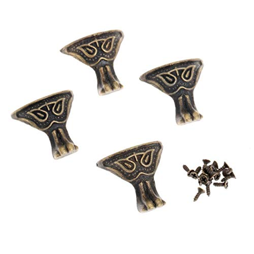 Rechtwinklige Halterung aus Metall 4Pc Möbel Dekorative Metallecken Schmuckschatulle Holz Eckenschutz Antique Corner Chinese Crafts Möbelbeschläge W/Nail (Color : B)