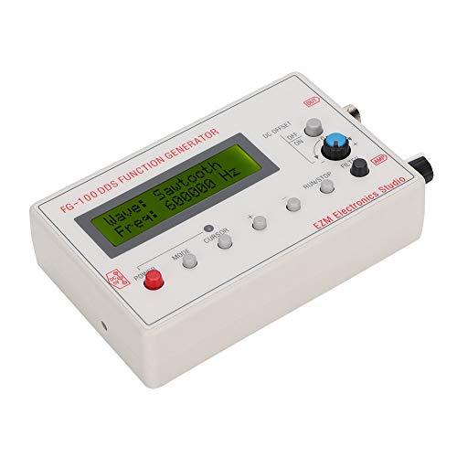 ASHATA Tragbare 1HZ-500KHZ DDS Funktionssignalgenerator Frequenzzähler FG-100 Sinus + Quadrat + Dreieck + Sägezahn Wellenform DC3.5-10V Netzteil