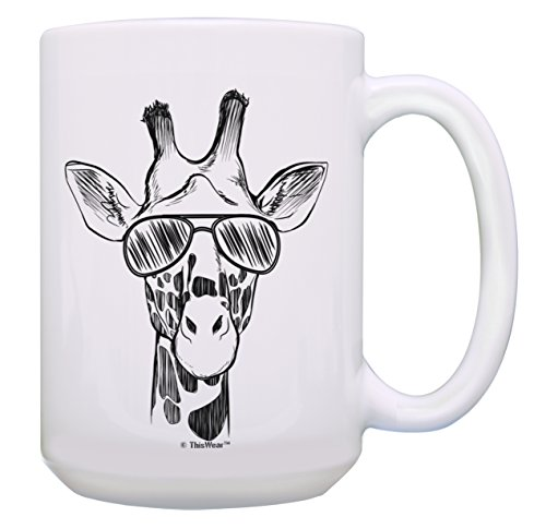 Giraffe Gifts Giraffe Wearing Sunglasses Cup Animal Mug Giraffe Mug 15-oz Coffee Mug Tea Cup White