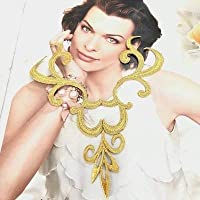 衣装モチーフ アップリケ ゴールド ネックライン モチーフ 刺繍ワッペン アイロンワッペン ワッペン パーツ H15cm W14cm