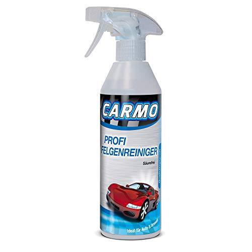 CARMO Felgenreiniger | Reiniger ohne Säure | Mit Wirkindikator/Eisenindikator | Kfz Stahlfelgen, Leichtmetallfelgen, Alufelgen | Einzelflasche für mehrere Anwendungen | 500ml