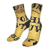 antcreptson Dangerous Magical Game Ouija Board Pattern Compression Socks Unisex Printed Socks Crazy Patterned Fun Long Cotton Socks Over The Calf Tube