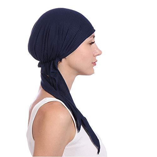 KPPONG Frauen 8 Farben erhältlich elastische Stretch Baumwolle Haar Schwanz Kopftuch Wrap Indien Beading muslimischen Turban Hut Blau