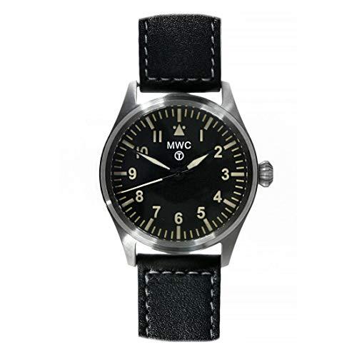 MWC Classic Pilot 40 mm híbrido mecánico cuarzo acero negro cuero aviador militar reloj unisex
