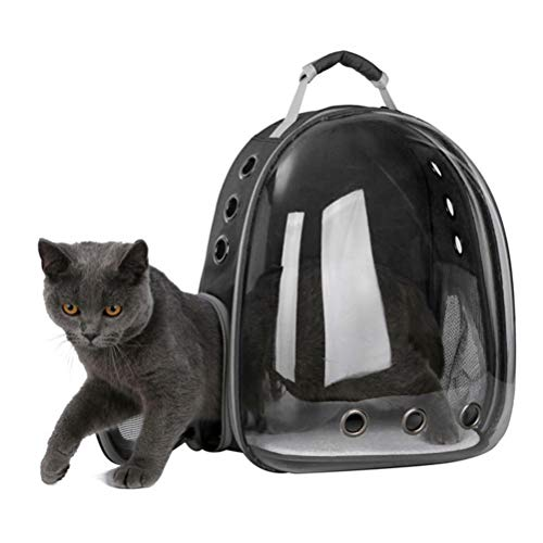 POPETPOP Portable Pet Cat Dog Puppy Space Backpack Carrier Bubble 360 Degree Transparent Sightseeing Space Capsule Design Backpack (Black)