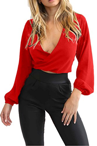 Almaree Womans Puff Sleeve Wrap Over Tie Up Sexy Blouses Chiffon Crop Top Red M