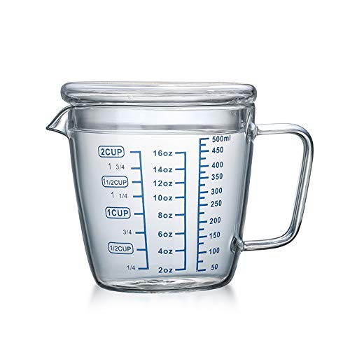 Vasos dosificador transparente 250 ml/500 ml Jarra medidora con tapa taza de medición becher graduado, recipiente de agua para leche de café para cocina o pasteles