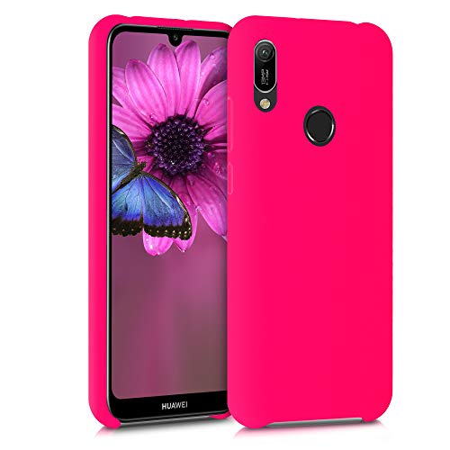 kwmobile Custodia Compatibile con Huawei Y6 (2019) - Cover in Silicone TPU - Back Case per Smartphone - Protezione Gommata Rosa Shocking