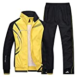 Modern Fantasy Men's Athletic Striped Tracksuit Joggers Running Sports Style Sweat Suits Set Yellow XS